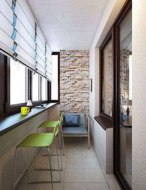 amenajare balcon inchis balcon perete cu piatra