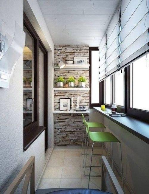 amenajare balcon inchis perete cu piatra