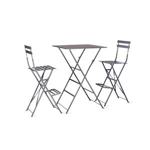 Set masă cu 2 scaune, gri