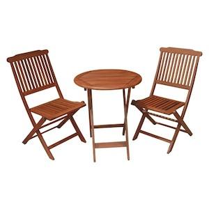 Set masă și 2 scaune din lemn pentru balcon