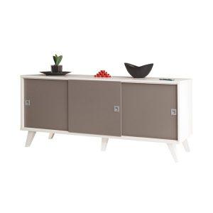 Comoda TV, Design modern, Culoare Gri-Alb