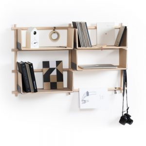 Rafturi de perete, 4 polite, bara pentru agatat, Design minimalist