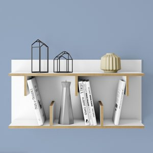 raft de perete din lemn, alb, modern