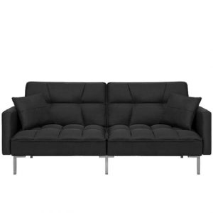 Canapea extensibila cu 3 locuri, Neagra, Design modern, Fluffy 191cm