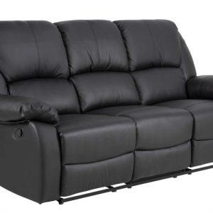 Canapea recliner neagra, Piele, 3 locuri, Moderna