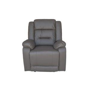 Fotoliu extensibil cu recliner, Piele, Gri inchis, Modern