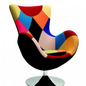 Fotoliu modern multicolor, Tapitat cu stofa