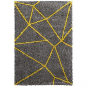 Covor gri galben, 120x170cm, Stil modern, Model geometric