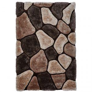 Covor pufos maro, 120x170 cm, Stil modern, Model geometric