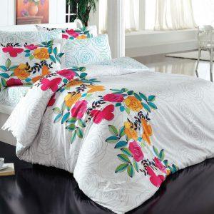 Lenjerie de pat bumbac 100%, 2 persoane, 220x200cm, Alba, Design Floral