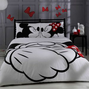 Lenjerie de pat bumbac 100%, 2 persoane, 220x200cm, Valentines Mickey