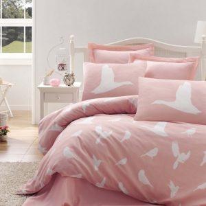 Lenjerie de pat bumbac 100%, Culoare roz, 160x220 cm