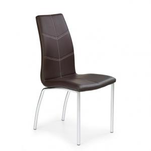 Scaune bucatarie din piele, Cadru din metal, Culoare Maro, Design modern