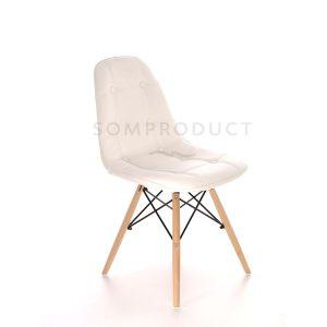 Scaune bucatarie din piele, Picioare de lemn, Culoare Alba, Design modern