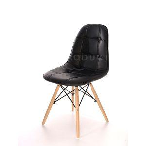 Scaune bucatarie din piele, Picioare de lemn, Culoare neagra, Design modern, Iars