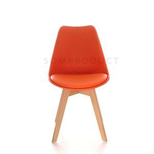 Scaune bucatarie din plastic, Picioare din lemn, Tapiterie piele, Design modern