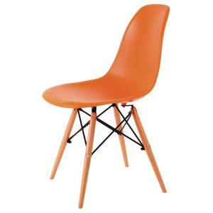 Scaune bucatarie din plastic si lemn, Culoare portocalie, Design scandinav, Enzo