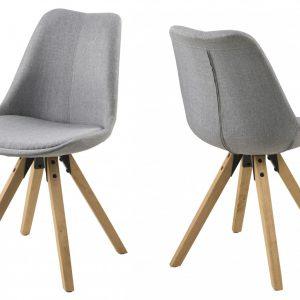 Set 2 scaune bucatarie, Tapitate cu stofa, Gri, Picioare lemn, Design scandinav