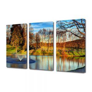 Tablou Canvas, 3 Piese, Peisaj de Toamna, 90x180 cm