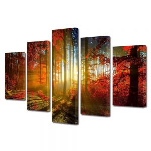 Tablou Canvas, 5 Piese, Peisaj copaci, 100x175 cm