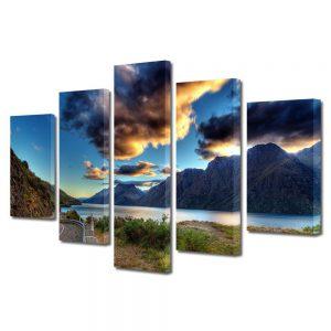 Tablou Canvas, 5 Piese, Peisaje lac, 110 x 200 cm