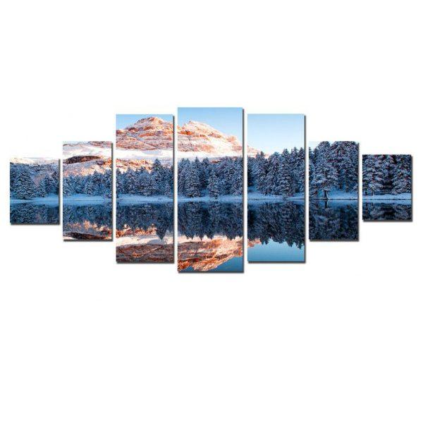 Tablou DualView, luminos in intuneric, Muntii inghetati, 7 piese, 100 x 240 cm