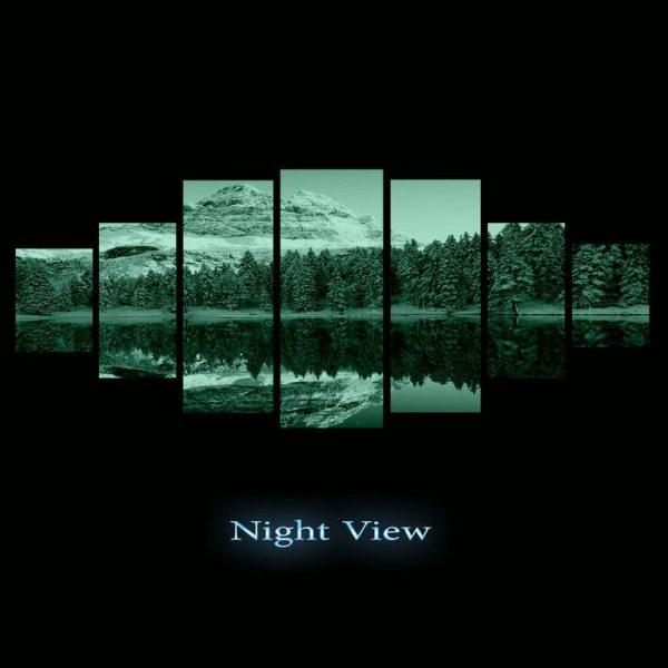 Tablou DualView, tablou luminos in intuneric, Muntii inghetati, 7 piese, 100 x 240 cm