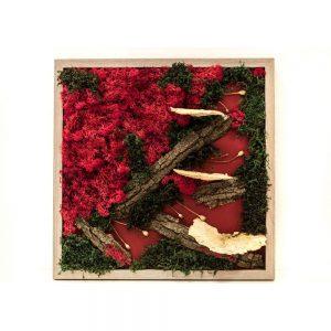 Tablou cu Licheni si Scoarta de copac, Rosu
