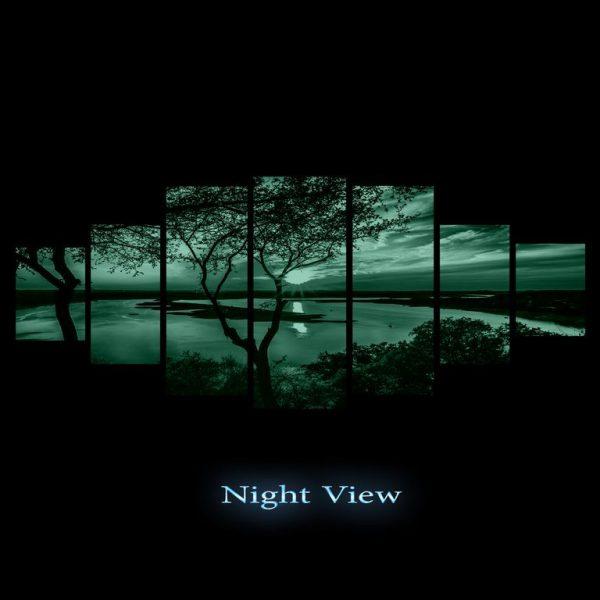 Tablou luminos in intuneric, Peisaj Apus pe lac, DualView, 7 piese, 100x240
