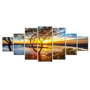 Tablou luminos in intuneric, Peisaj Apus pe lac, DualView, 7 piese, 100x240 cm