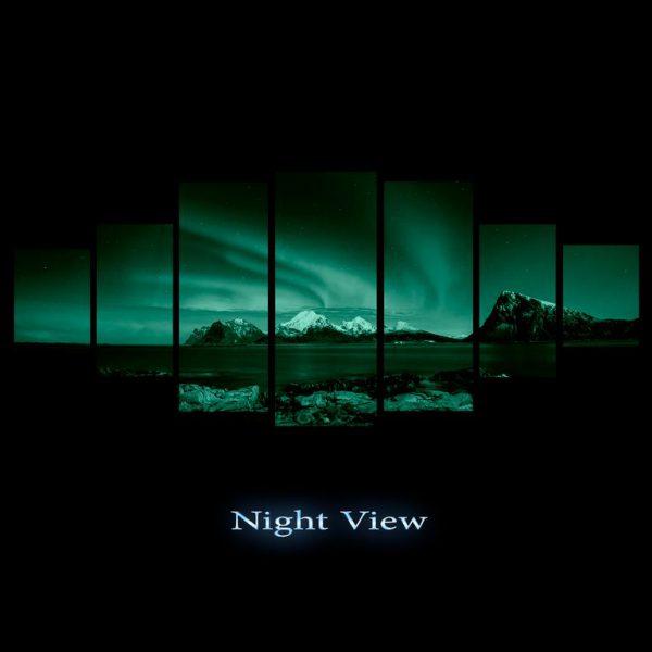 Tablou luminos in intuneric, Peisaj Aurora Boreala, DualView, 7 piese, 100x240