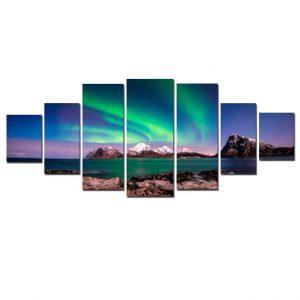 Tablou luminos in intuneric, Peisaj Aurora Boreala, DualView, 7 piese, 100x240 cm