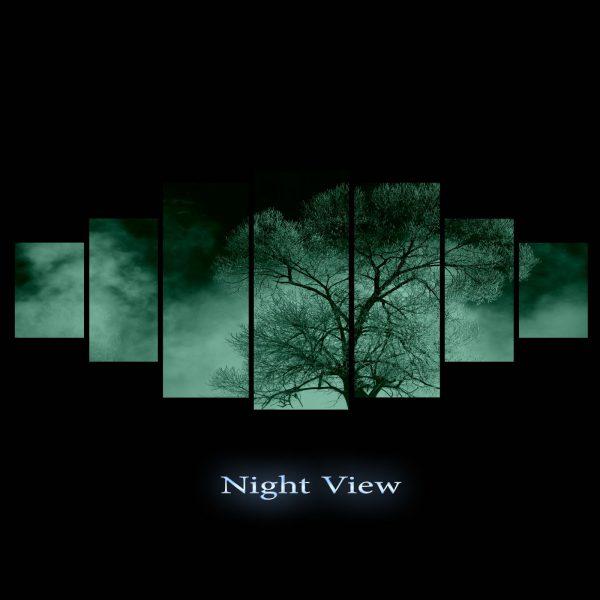 Tablou luminos in intuneric, Peisaj Copac, DualView, 7 piese, 100 x 240
