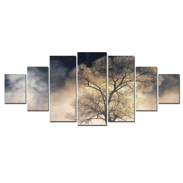 Tablou luminos in intuneric, Peisaj Copac, DualView, 7 piese, 100 x 240 cm