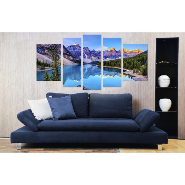 Tablou luminos in intuneric, Peisaj Lac de Munte, DualView, 7 piese, 100x240
