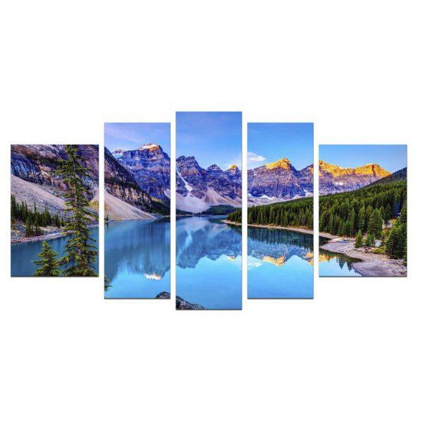 Tablou luminos in intuneric, Peisaj Lac de Munte, DualView, 7 piese, 100x240 cm