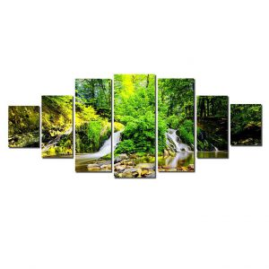 Tablou luminos in intuneric, Peisaj Padure Verde, DualView, 7 piese, 100x240 cm