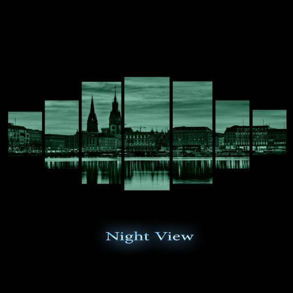 Tablou luminos in intuneric, Peisaj Panorama urbana, DualView, 7 piese, 100x240
