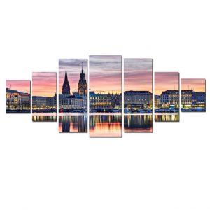 Tablou luminos in intuneric, Peisaj Panorama urbana, DualView, 7 piese, 100x240 cm