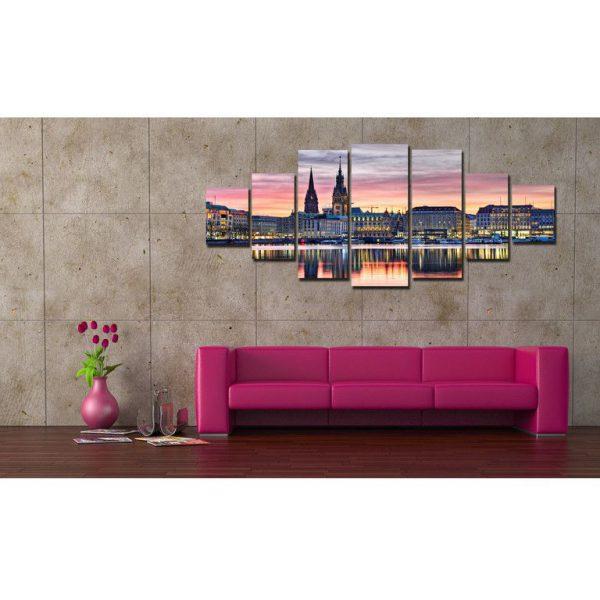 Tablou luminos in intuneric, Peisaj Panorama urbana, DualView, 7 piese
