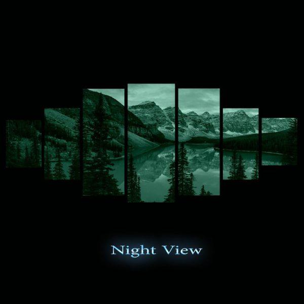 Tablou luminos in intuneric, Peisaj albastru de munte, DualView, 7 piese, 100 x 240