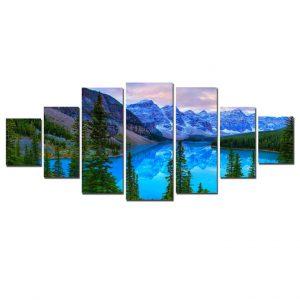Tablou luminos in intuneric, Peisaj albastru de munte, DualView, 7 piese, 100 x 240 cm