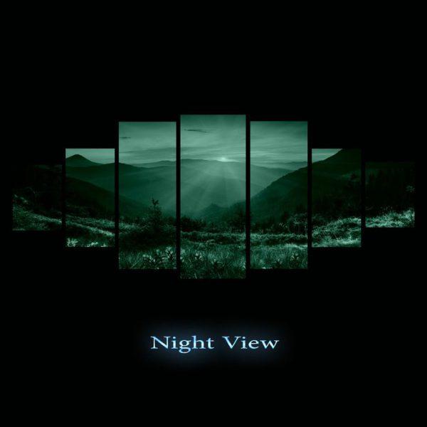 Tablou luminos in intuneric, Peisaj apus, DualView, 7 piese, 100x240