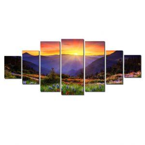 Tablou luminos in intuneric, Peisaj apus, DualView, 7 piese, 100x240 cm
