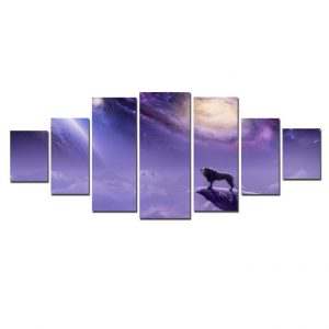 Tablou luminos in intuneric, Peisaj luna & Leu, DualView, 7 piese, 100x240 cm