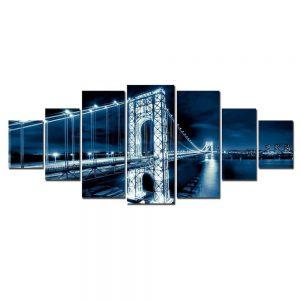 Tablou luminos in intuneric, Pod albastru, DualView, 7 piese, 100x240 cm