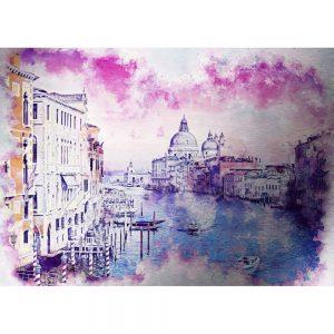 Tablou pe aluminiu striat, Peisaj Venetia, Original, 70x50 cm