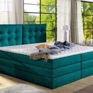 Pat Boxspring cu lada de depozitare, Verde, Materiale Premium, Fendy