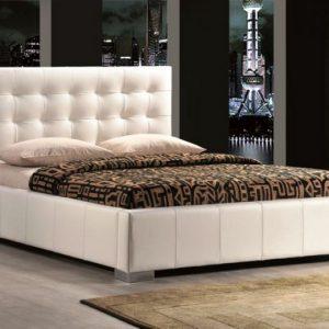 Pat alb tapitat cu piele Modern Materiale Premium Calama 200 x 160 cm