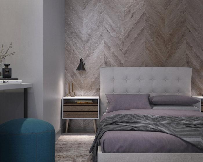 amenajare dormitor cu perete din lemn